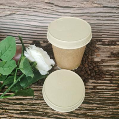 Plastic-free compostable paper cups with lids