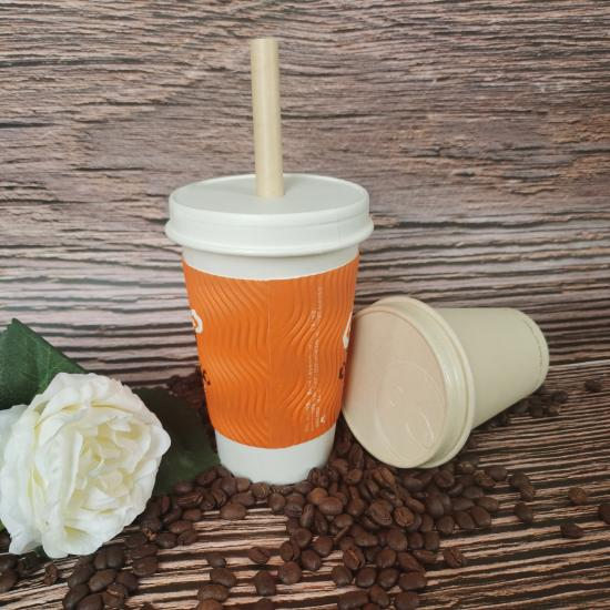 Plastic free paper cups with lids
